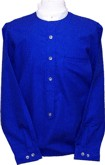 Shirt, Helena in Royal Blue Print - takes detachable collars