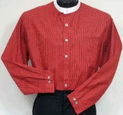 Shirt, Virginia City in Red Print - takes detachable collars