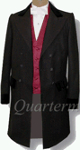 Civilian 3 Button Double Breasted Frockcoat in Black, 19th Century (1800s) Clothing