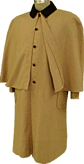Civilian Greatcoat (Overcoat) in Tan with Brown Trim, 19th Century (1800s) Clothing