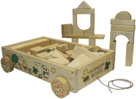 Building Blocks in wooden wagon