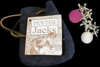 Game of Pewter Jacks with leather pouch.